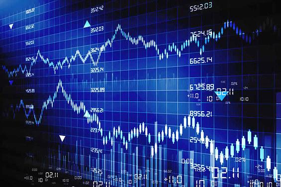 courbes des cours fluctuants de la bourse
