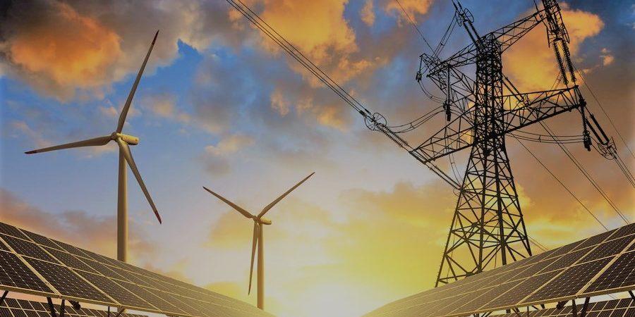 mode d'énergie panneau solaire eolienne et pylone éléctrique
